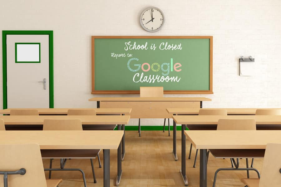google-classroom-on-chalkboard-in-empty-school-during-covid-for-remote-learning-square