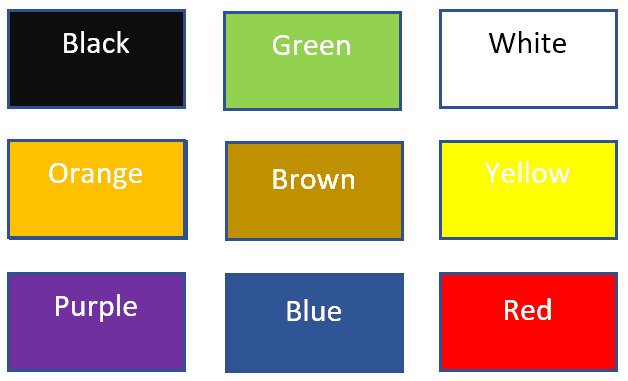 colors of items to find